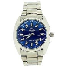 Mab London Mens Calendar 2 Tone Blue 3D Dial Silver Tone Metal Strap Dress Watch Omega Watch, Rolex Watches, Calendar, London, 3d, Metal, Silver, Dress, Blue