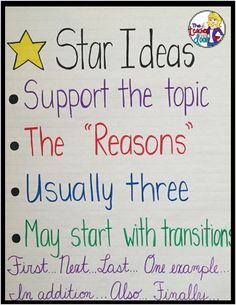 Teaching Paragraph Writing: Star Ideas (supporting sentences). Lots of ideas on this 2nd of a four part series on Teaching Paragraph Writing. Writing Genres, Expository Writing, Paragraph Writing, Writing Strategies, Narrative Writing, Writing Workshop, Writing Resources, Blog Writing, Writing Ideas