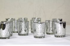 Silver Mercury Glass Votive Holder, Set of 12 BD Crafts… Glass Tealight Candle Holders, Silver Candle Holders, Votive Candle Holders, Led Tea Lights, Tea Light Candles, Outdoor Candle Holders, Decoration, Wedding Ideas, Wedding Tables