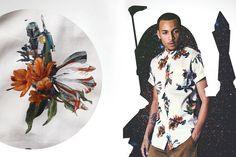 Bílá květinová košile z kolekce street oblečení PacSun s ukrytým vojákem