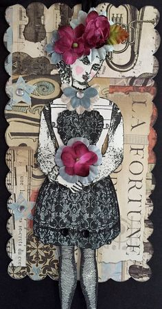 Valentine Art TagHandmade Paper Doll Articulated by ParisPluie