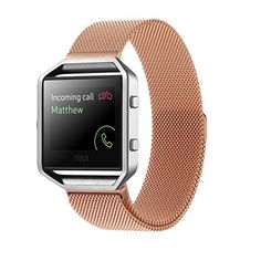 Fitbit Blaze Accessory Band Large (6.7-8.1 in),Oitom® Milanese loop stailess steel Bracelet Strap for Fitbit Blaze Smart Fitness Watch, Black, Silver, Large with unique Magnet lock (Rose Gold)