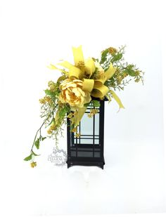 Yellow Spring Lantern Swag with Wild Flowers and Peonies Yellow Spring Decor Yellow Floral Swag Spring Table Decor Spring Mantle by SouthernCharmWreaths $54.00 USD #doorwreaths