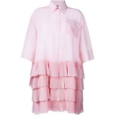 Rochas Ruffle Skirt Shirt Dress featuring polyvore, women's fashion, clothing, dresses, pink pleated dress, shirt dress, light pink dress, pink dress and pastel dresses