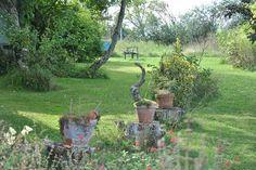 L'arrière du jardin donne sur la campagne, (c) Agnès Guillaumin, SNHF. Jardin de Jammary, Laurence Saunois Lauréate du concours Jardiner autrement 2011