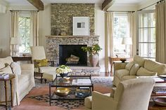 Fireplace stone all the way to ceiling