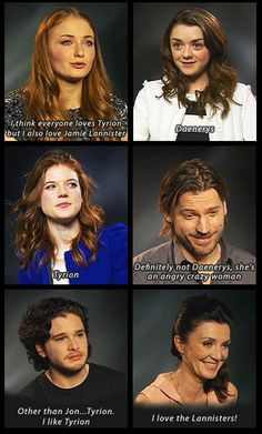 "Who's your fave? Nikolaj wins best answer. And I love how Kit goes, ""Other than Jon..."""
