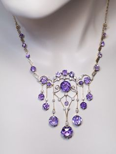 Exceptional Vintage Russian Amethyst Diamond Necklace - Antique Jewelry | Vintage Rings | Faberge Eggs