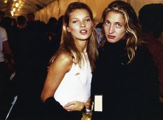 Kate Moss and Carolyn Bessette