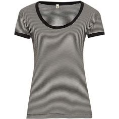 R13 Striped cotton-blend T-shirt ($64) ❤ liked on Polyvore featuring tops, t-shirts, r13, black white, black and white striped t shirt, black and white stripe t shirt, scoop neck tee, scoop neck t shirt and striped tee