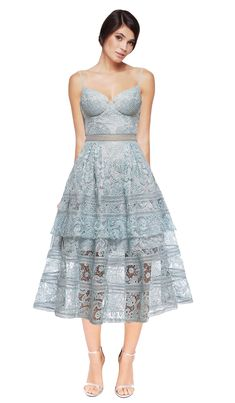 c6e0ab8e476c Hire Self Portrait's new in Icy blue Paisley midi dress with beautiful  patterned lace and structured