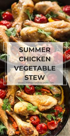 This Chicken Vegetable Stew is a healthy and easy recipe for summer dinner. Chicken is seared till brown and then simmered in aromatic vegetables. Flavorful and delicious. Chicken Vegetable Stew, Chicken And Vegetables, Vegetarian Comfort Food, Healthy Comfort Food, Clean Recipes, Soup Recipes, Chicken Recipes, Summer Chicken