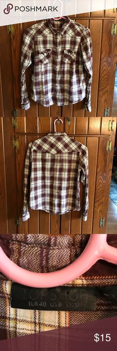 TOPSHOP flannel! Used but great condition! Maroon and white with yellow/orange thin lines in pattern. Topshop Tops Button Down Shirts