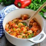Easy Shrimp Creole Enjoy the taste of Louisiana Cajun cookin' any night of the week with a classic one pot meal! This Shrimp Creole is easy and healthy dinner recipe that's ready in about 30 minutes! Shrimp Recipes Easy, Cajun Recipes, Seafood Recipes, Healthy Dinner Recipes, How To Cook Shrimp, How To Cook Pasta, Shrimp Creole, Creole Recipes, Cooking Instructions