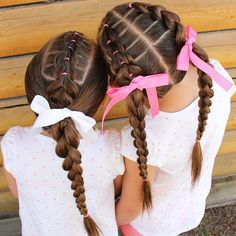 5 strand ribbon braids  Ribbon braids are always a favourite of mine      This was the hair the girls wore on our last day of camping  Pull through  braids into a 4 strand round braid  Simple but stayed put all day
