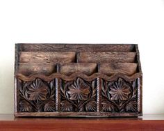 Retro Letter Holder Desk Organizer Faux Carved Wood by recreated1