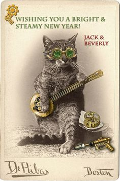Happy New Year from Steampunk Cat, Jack, & Beverly by Photo_History, via Flickr
