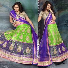 Be Bold! Embrace the bright colors of nature! #Purple #Green #BrightColors #Lehenga #Embroidery #ColorBlock #Cholli #DesignerWears