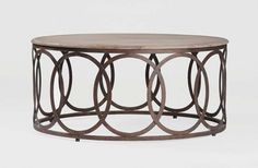 "Ella Round Coffee Table - Gabby (Aged Oak top & Rustic Russet Iron base) 40""Dia x 18""H"