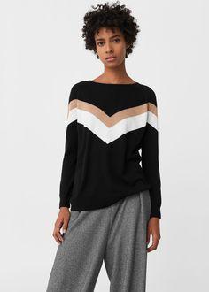 Sweter kontrastowa lamówka - Kardigany i swetry dla Kobieta | MANGO Polska