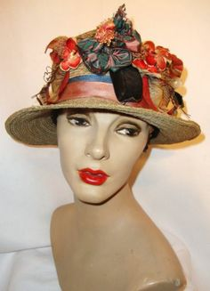 Vtg 1920's Downton Straw Cloche Hat with Flowers *Extra Large Size!