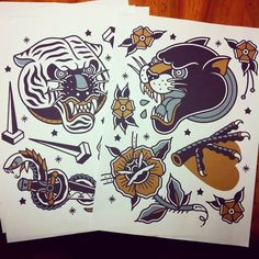 For sale #tattoo #tattooflash #tattoos #panther #tiger #oldschool #traditional…