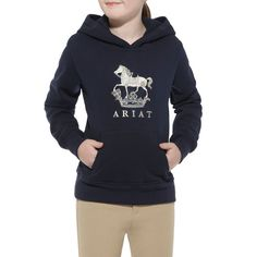 Destined to be a young equestrian's favorite pullover. Tailored from cotton blend fleece, with a horse design on the front, metallic embroider...