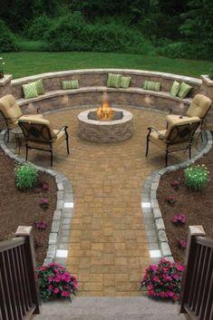backyard patio fire pit design seating area