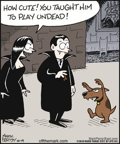 Playing Undead - Sunday Fun Day - Sunday October 2013 - {Faith Hope Love & Luck Survive Despite a Whiskered Accomplice} - Halloween Cartoons, Funny Halloween Memes, Halloween Fun, Funny Halloween Pictures, Halloween Witches, Halloween Prints, Vintage Halloween, Funny Cartoons, Funny Comics