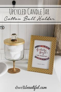 Make a cute cotton ball or Q-tip holder for your bathroom using and old Bath and Bodyworks candle jar! Full tutorial! | Dwell Beautiful