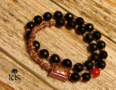 Black Onyx Copper and Red Sponge Coral 27 Bead by KLSCustomJewelry, $45.00