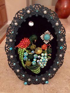Framed Jewelry Art Parrot by TreasuresByRustin on Etsy