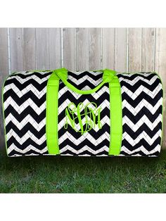 Navy Chevron Quilted Duffle Bag with Lime Trim