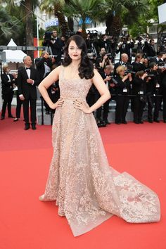 Pin for Later: Every Single Look From the Cannes Film Festival You Just Can't Miss  Aishwarya Rai attended the same premeire in a lacy champagne number.