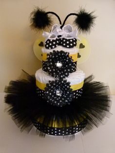 Bee Tutu Baby Diaper Cake With Baby Girl Gift Set by mamabijou. $80.00, via Etsy.