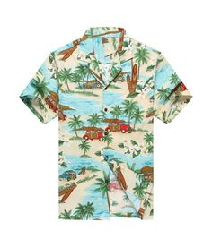 Made in Hawaii Men's Hawaiian Shirt Aloha Shirt Mini and Surfboards in Green
