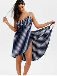 Open Back Striped Cover-ups Dress - STRIPE 2XL