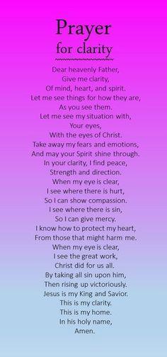 Prayer for clarification