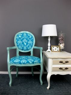 echino fabric on painted vintage chair