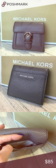 "Final price 💥💥Michael Kors wallet Adorable grey/taupe wallet with silver metal, folds open with plenty of card holders and zip change pocket, perfect for cross body purses! 4""x 4.5"" brand new with tags! Reg $119 Michael Kors Bags Wallets"