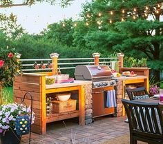 Outdoor Kitchen and Dining installations can be as simple as a built in grill station, or a fully equipped outdoor kitchen and dining pavilion. Landscape design with a built in grill that offers two to three feet of counter space… Continue Reading → Simple Outdoor Kitchen, Build Outdoor Kitchen, Backyard Kitchen, Outdoor Kitchen Design, Outdoor Cooking, Outdoor Rooms, Backyard Patio, Backyard Landscaping, Outdoor Living