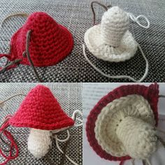 PennyMo: Hæklede svampe - DIY Crochet Santa, Crochet Snowman, Crochet Christmas Ornaments, Crochet Cross, Crochet Motif, Crochet Flowers, Crochet Food, Diy Crochet, Champignon Crochet