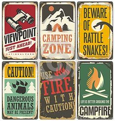 Set of retro outdoor camp signs and poster templates