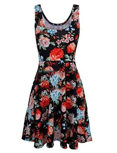 Yayu Womens Tank Dress Floral Printed Scoop Tops Tunic Dress Black XL ** You can get more details by clicking on the image.