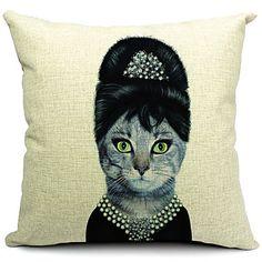 Mrs+Cat+Cotton/Linen+Decorative+Pillow+Cover+–+USD+$+13.99