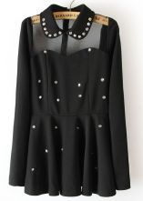 Black Contrast Sheer Mesh Yoke Rhinestone Dress $32.42  SKU:dress13030317