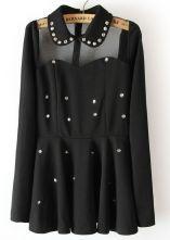 Black Contrast Sheer Mesh Yoke Rhinestone Dress $32.42  SKU:dress13030317