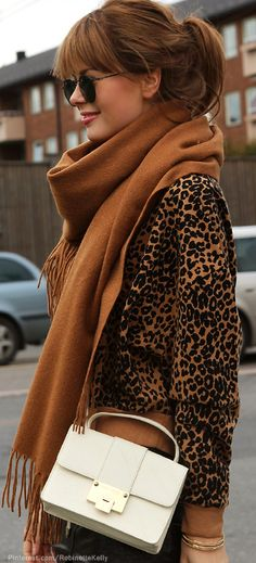 Street Style | Leopard~~ Love this scarf and blouse. Adorable!