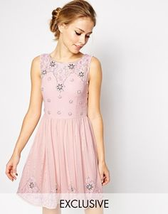 Enlarge Frock and Frill Sleeveless Mini Skater Dress with Embellishment