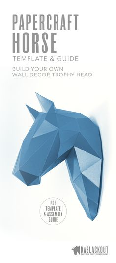 Horse papercraft trophy head.  DIY project to build your own fabulous horse wall decor.  DIY low poly papercraft PDF printable template download.   #horse #horsepapercraft #papercrafthorse #lowpoly #lowpolyhorse #3Dorigami #kablackout #horsecrafts #diy